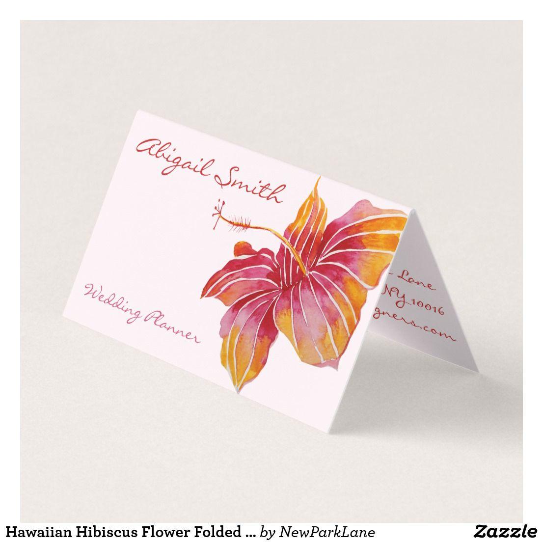 hawaiian hibiscus flower folded business card  zazzle