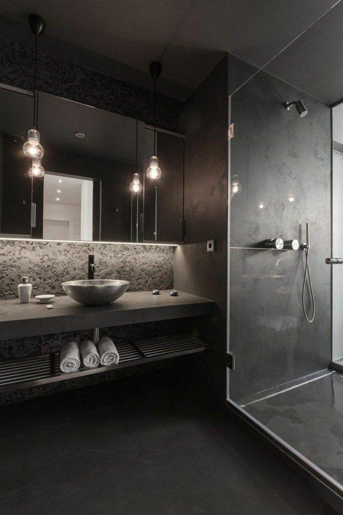 Le meuble sous lavabo 60 id es cr atives salle de bain salle de bain salle - Meuble sous lavabo noir ...
