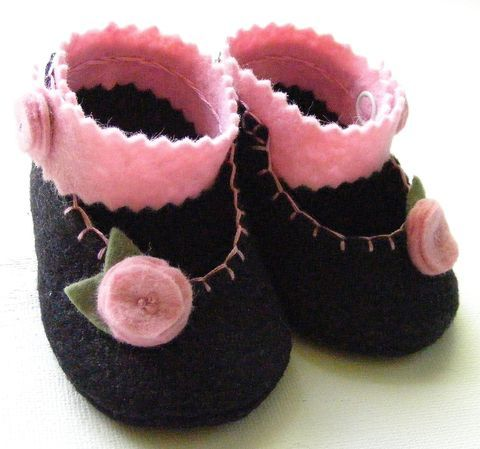 Black and Pink Floral Felt Baby Booties Mary Jane Style