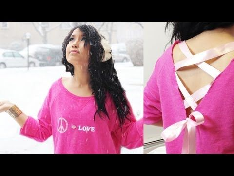 """DIY: Lace Up Bow """"Peace & Love"""" Off the Shoulder Sweater (Under $15)"""
