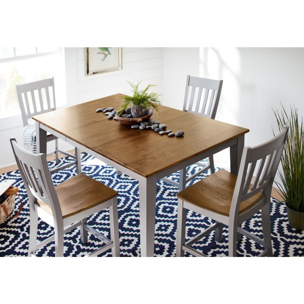 Nantucket Counter Height Dining Table And 4 Slat Back Dining