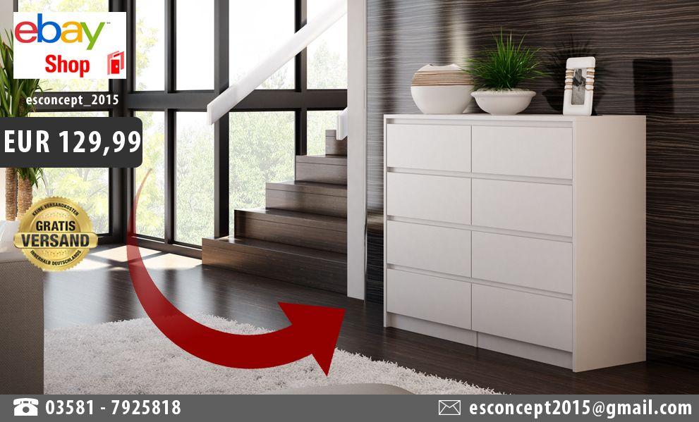 details zu kommode schrank klamotenschrank w scheschrank regal 8 schubladen k8 wei 120 cm. Black Bedroom Furniture Sets. Home Design Ideas