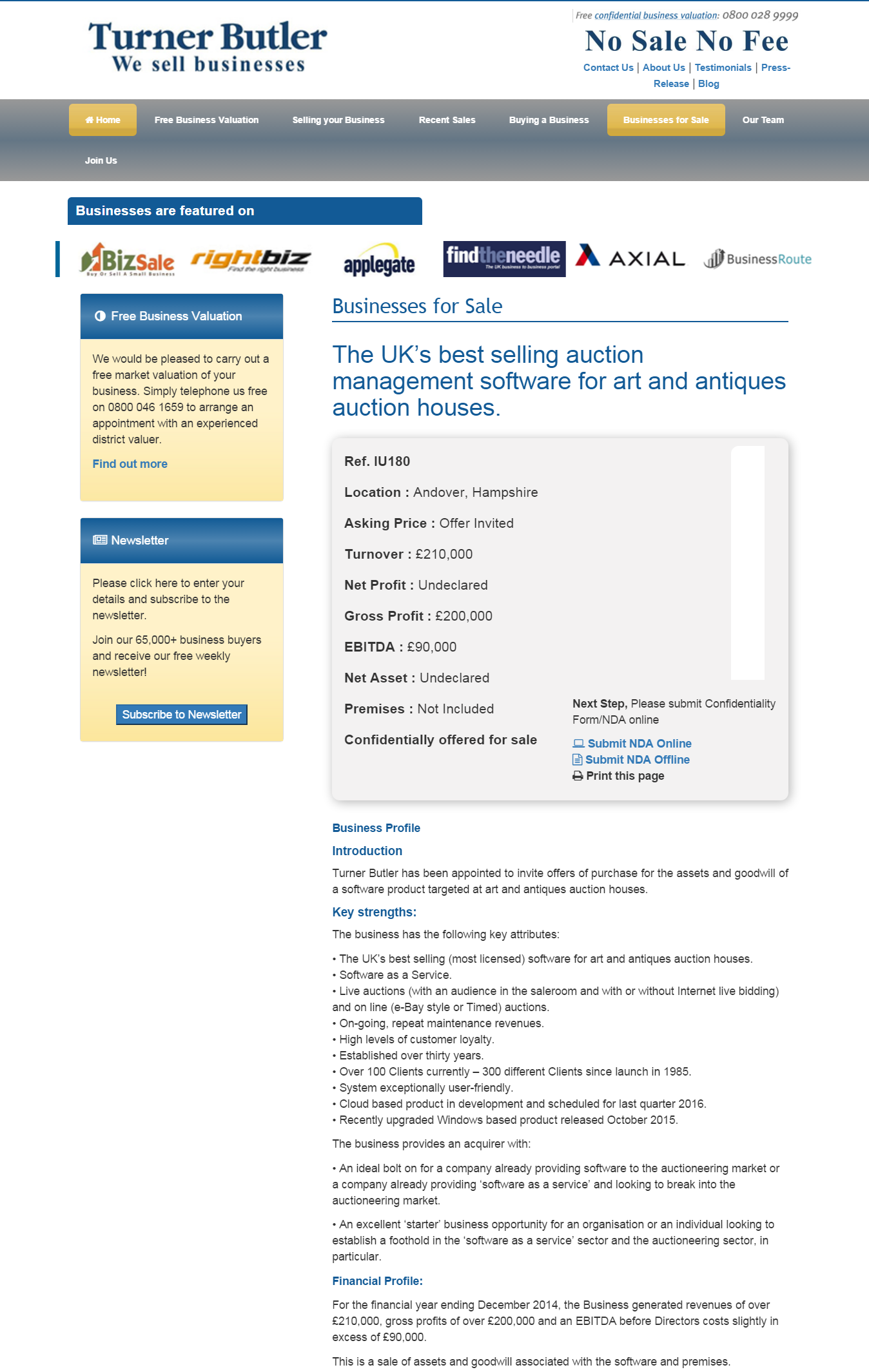 Businesses For Sale The Uk S Best Selling Auction Management Software For Art And Antiques Auction Houses Ref Iu180 Location An Business Valuation Sell Your Business Business