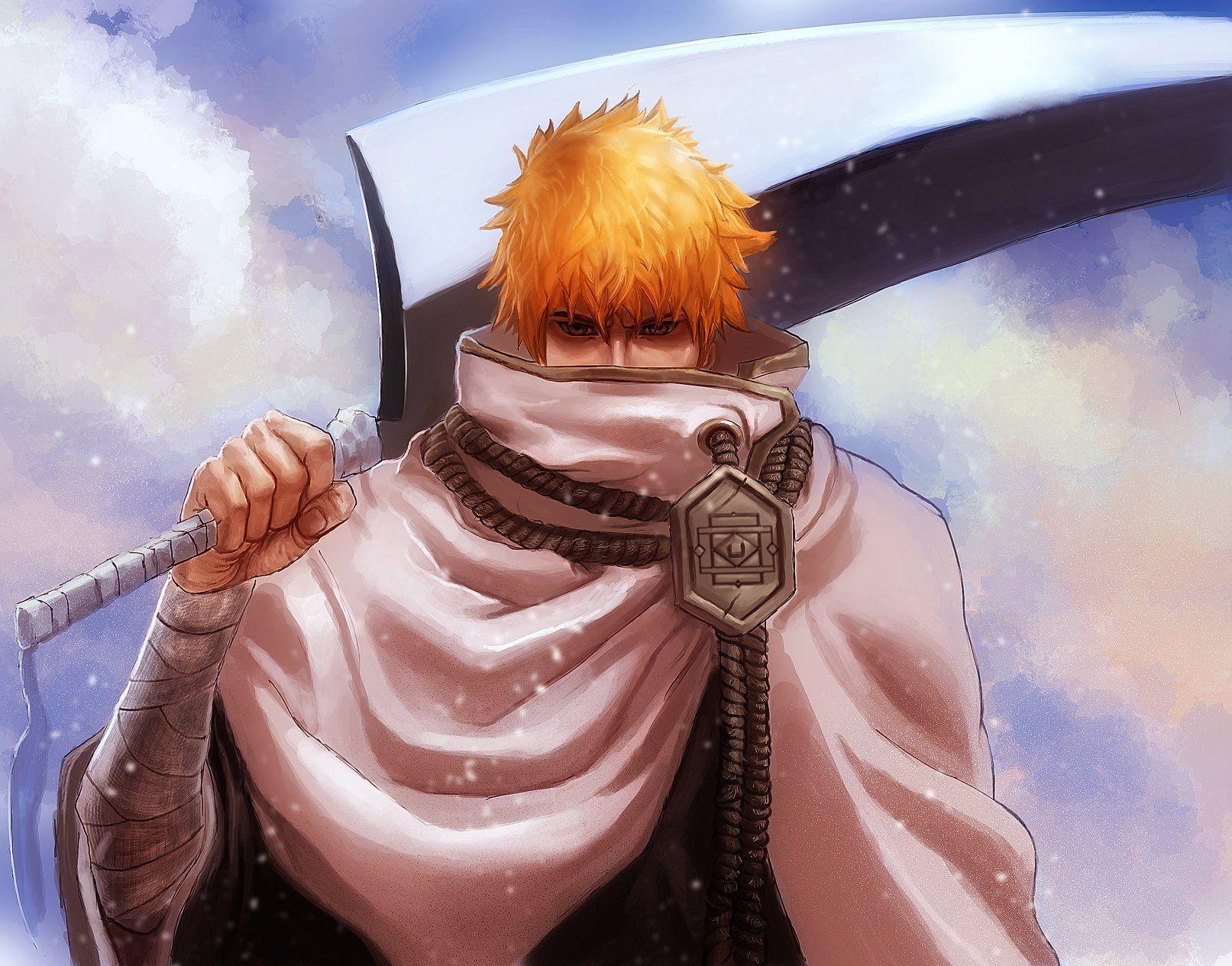 Anime Series Bleach Sword Orange Hair Ichigo Kurosaki Character Bleach Ichigo Bankai Bleach Anime Bleach Swords