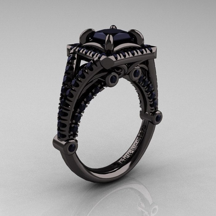 Modern Art Nouveau 14K Black Gold 1.23 Carat Princess Black Diamond Engagement…
