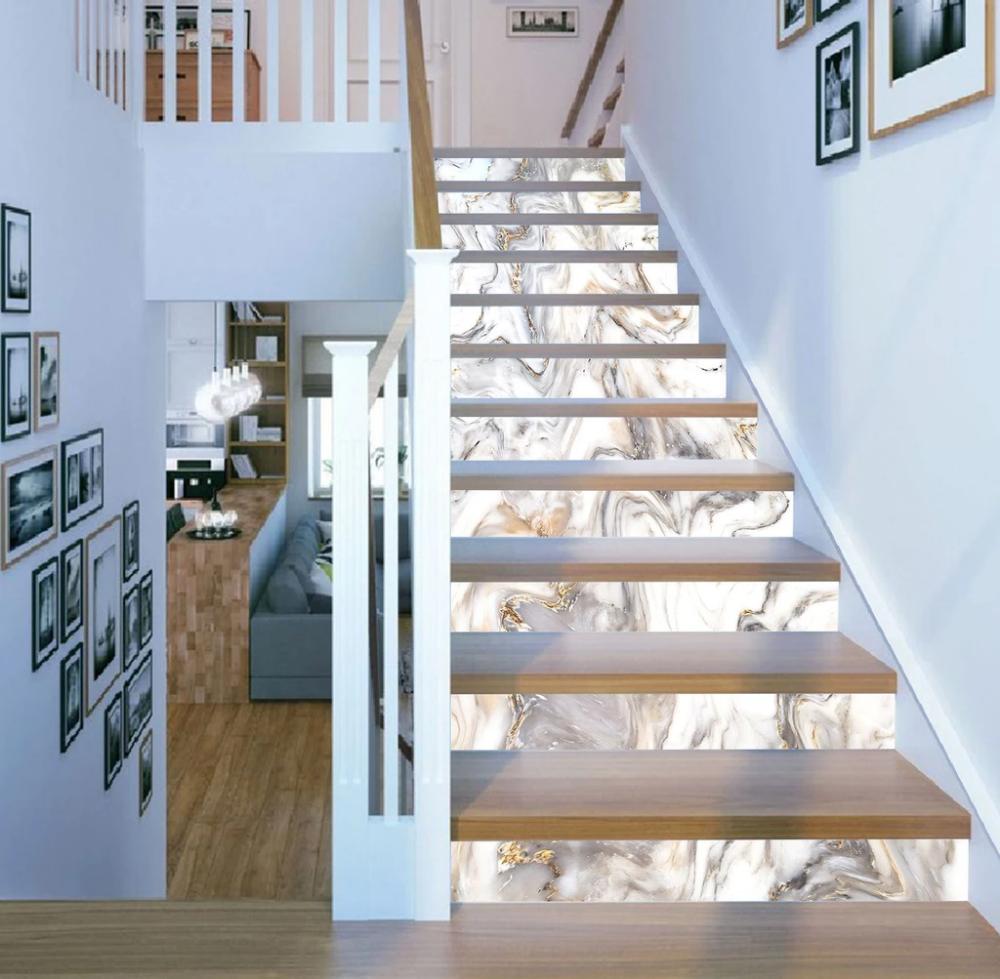 3D Alpine River 621 Marble Tile Texture Stair Risers AJ