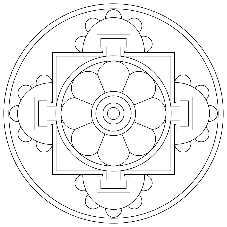 Simple Tibetan Tibetan Mandala Mandala Coloring Mandala Coloring Pages