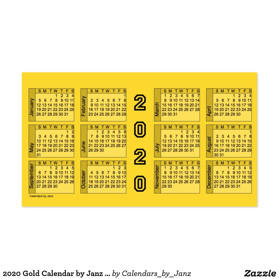 2020 Gold Calendar by Janz Business Card | AV Best Deals ...