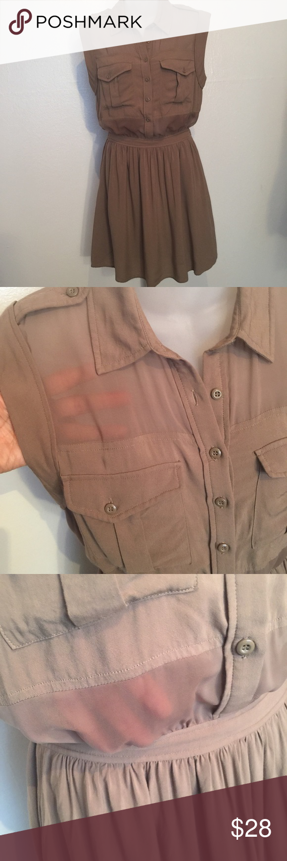 """BCBG Semi sheer dress Taupe color, 100% Rayon fabric, elastic waistband and side pockets. Dress is fully lined except above and below chest area where the fabric is semi- sheer. Great for summer!  Measures 18.5"""" flat from armpit to armpit, 18"""" from shoulder to waist and 19"""" from waist to hem.       (Item 242) BCBGeneration Dresses"""