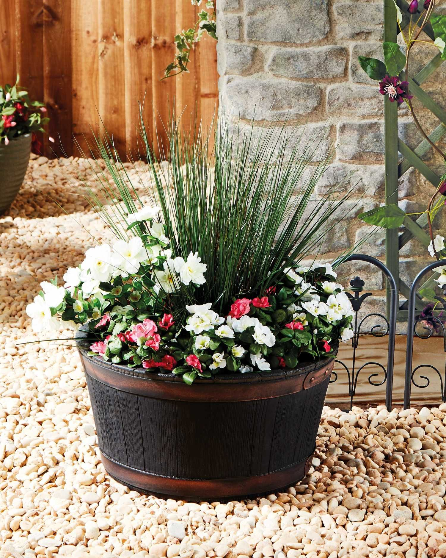 Oakwood Barrel Style Planter Barrel flowers, Planters