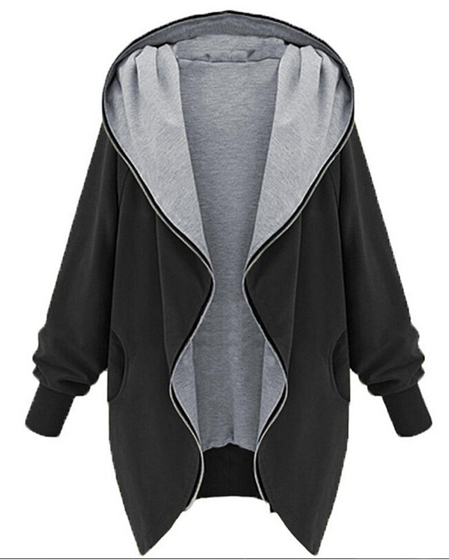 MILEEO Damen Frauen Hoodie Kapuzen Parka Herbst Frauen Parka Hooded Zipper  Jacke Cardigan Blazer Mantel Outwear e5cacc5c9e