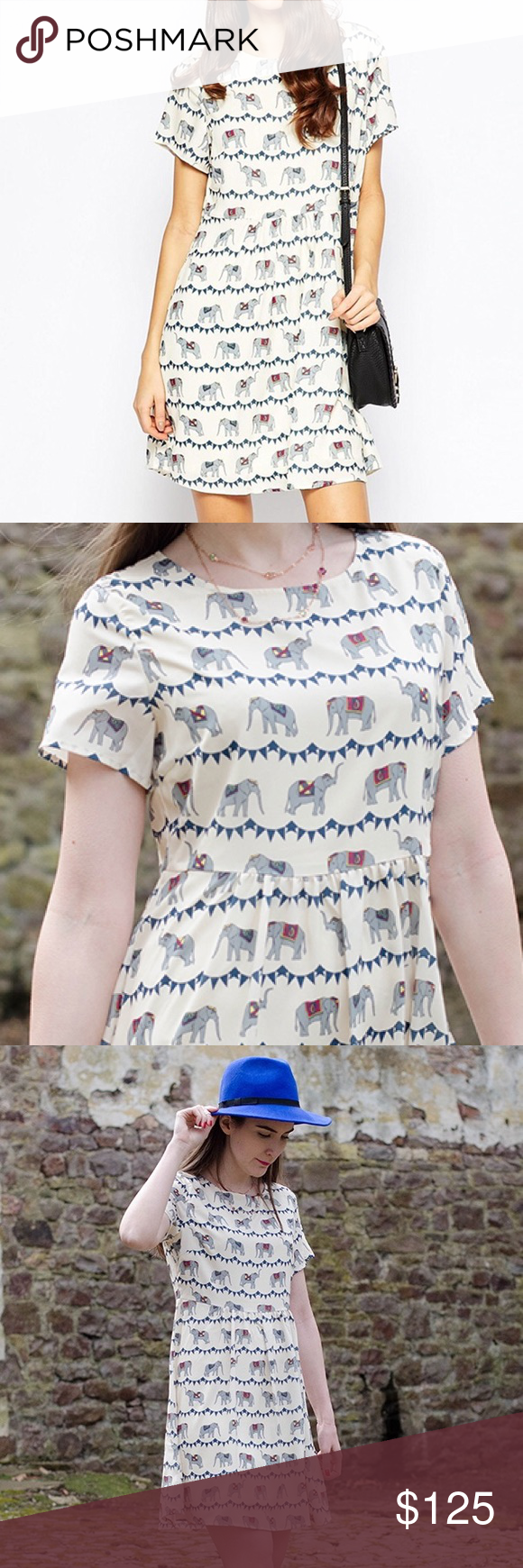 Ivory White Festive Elephant Smock Dress A new hand-drawn print from the studio, perfect for spring and summer, this print features beautiful decorated elephants and festival bunting in stripe print, on an ivory cream backdrop. Relaxed, loose fit. Blogger favourite! Dress looks exactly as pictured. Hidden side zipper. Lightly lined. True to size. UK 12, EURO 40. Label is Sugarhill Boutique, featured on ASOS. ASOS Dresses