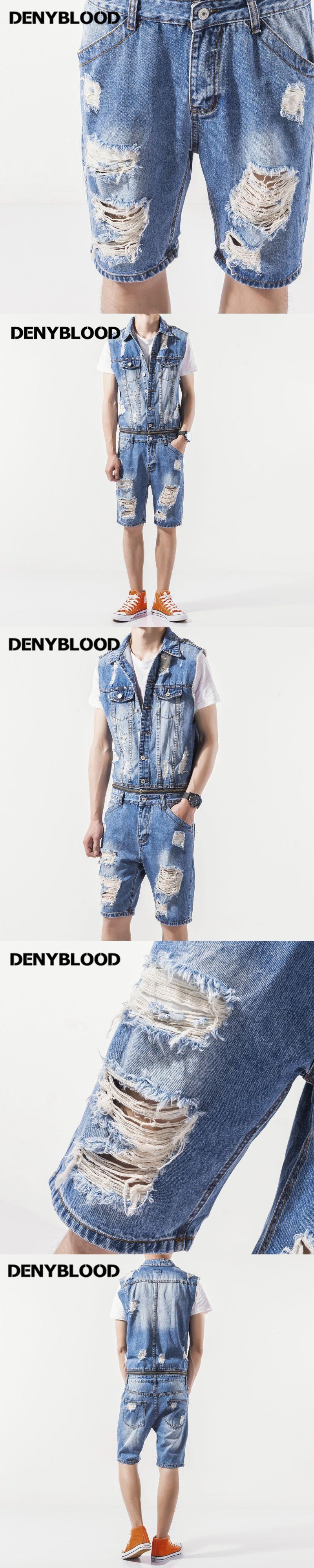 742f69139189 Denyblood Jeans Mens Denim Overalls Distressed Jeans Ripped Hole Destroyed  Bib Shorts Jumpsuit for Men Short