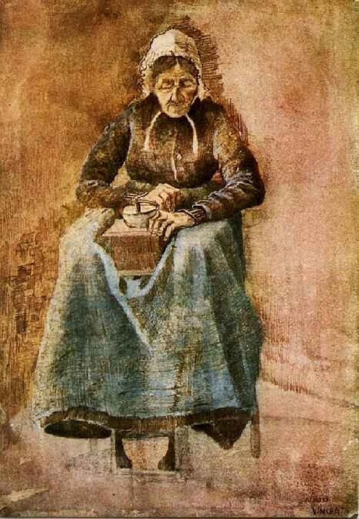 Woman Grinding Coffee by @artistvangogh #realism