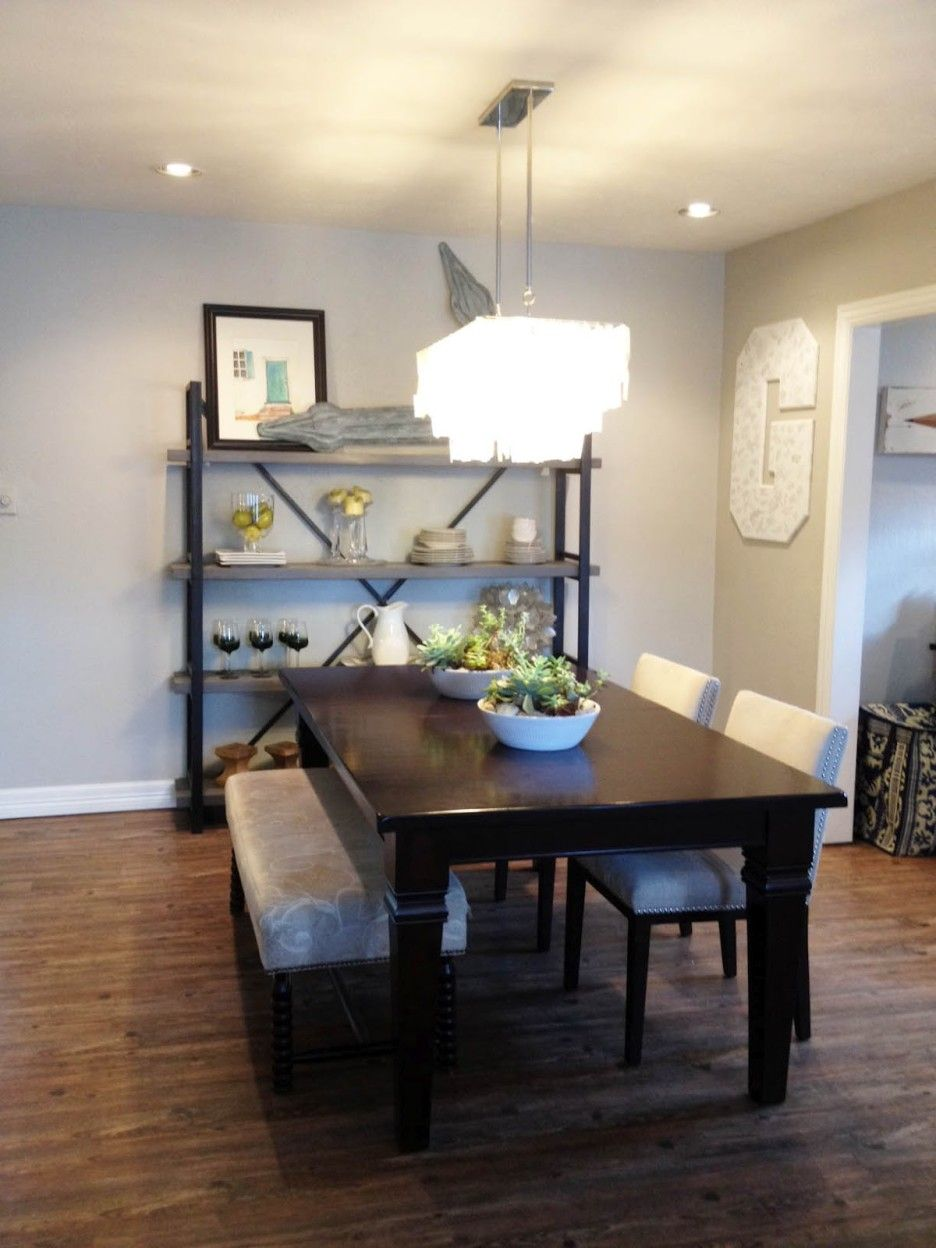 Dining Room Rectangle Black Glaze Wooden Dining Table With White