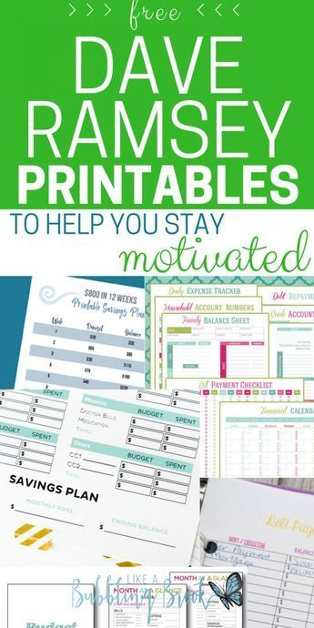 Dave Ramsey Printables To Help You Stay Motivated home Pinterest