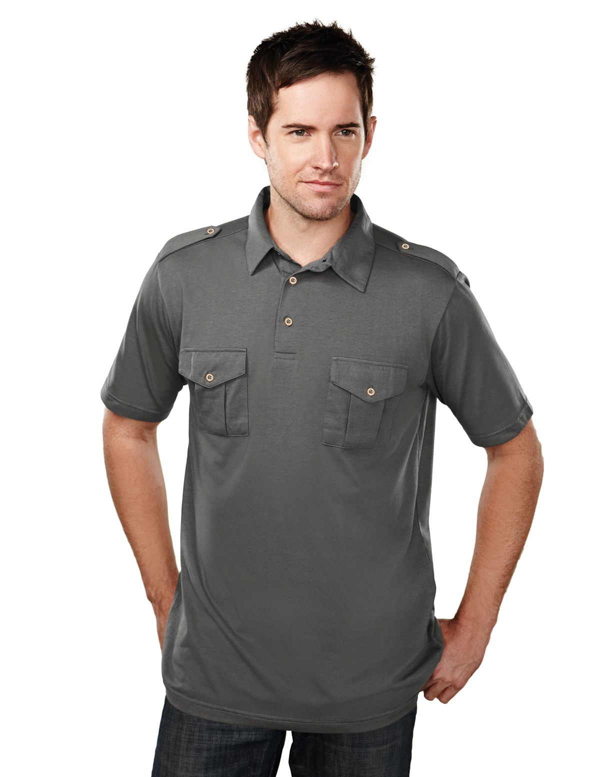 Men's Jersey Polo With Two Chest Cargo Pockets (60% Cotton/40% Polyester)  Tri mountain 187 #casual #Cargo #Jersey
