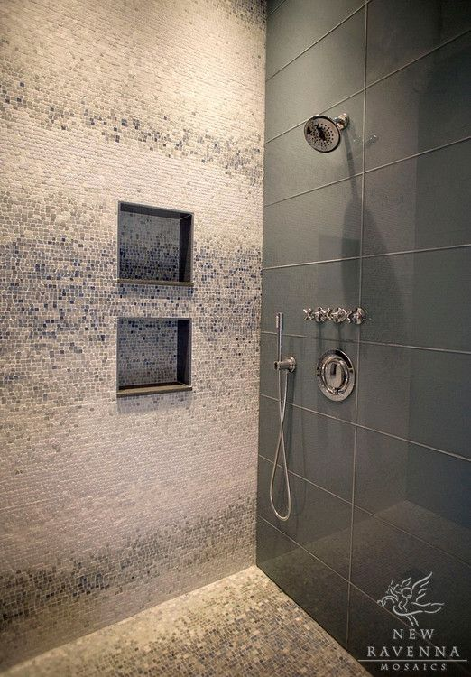 Add An Accent Wall In Your Shower Mosaic Bathroom Custom Mosaic Bathroom Contemporary Bathroom Tiles