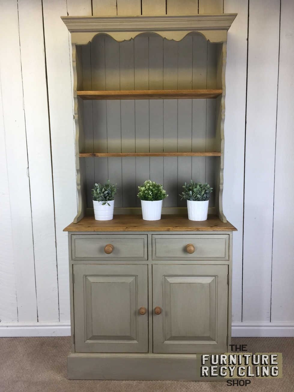 Narrow Painted Distressed Dresser. Solid Wood Unit. Farmhouse Kitchen  Dresser   EBay