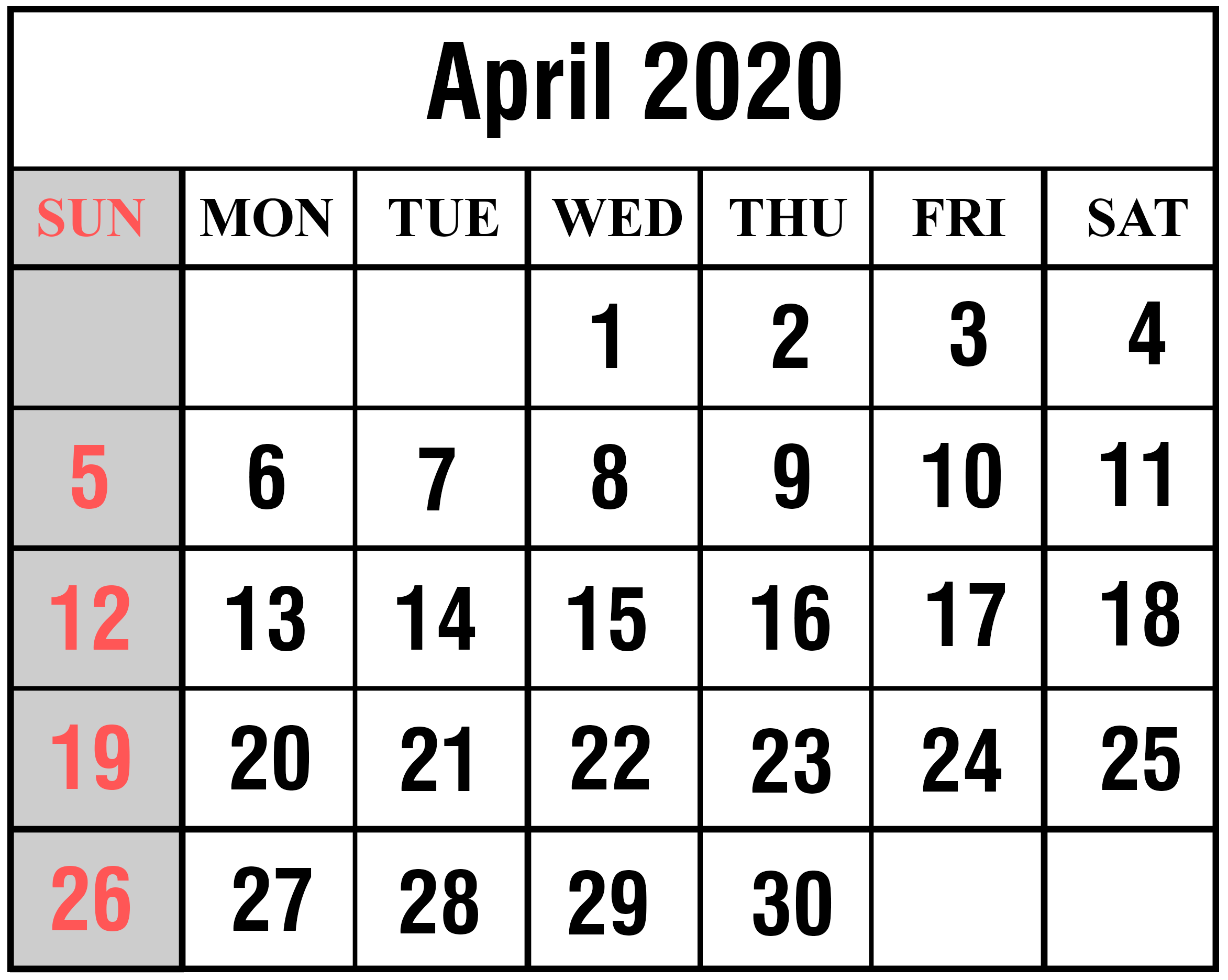 April 2020 Calendar Printable Template in PDF, Word, Excel – Free ...