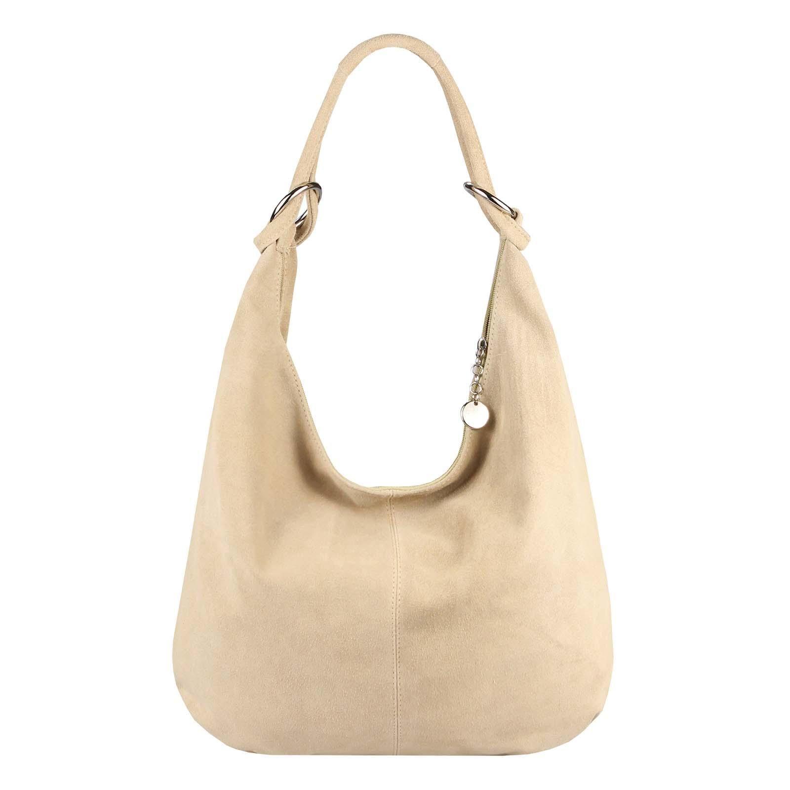 a33fb4072a57df Made in Italy Damen XXL Ledertasche Wildleder Shopper Tasche Schultertasche  Umhängetasche Hobo-Bag Beuteltasche