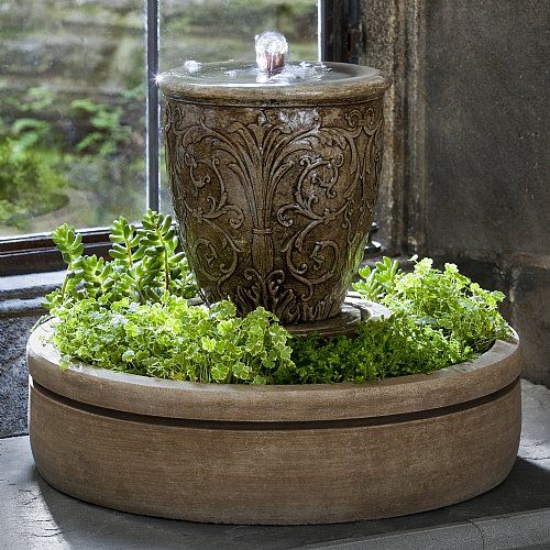 Arabesque Spa Terrace Fountain With Planter Small Indoor Water