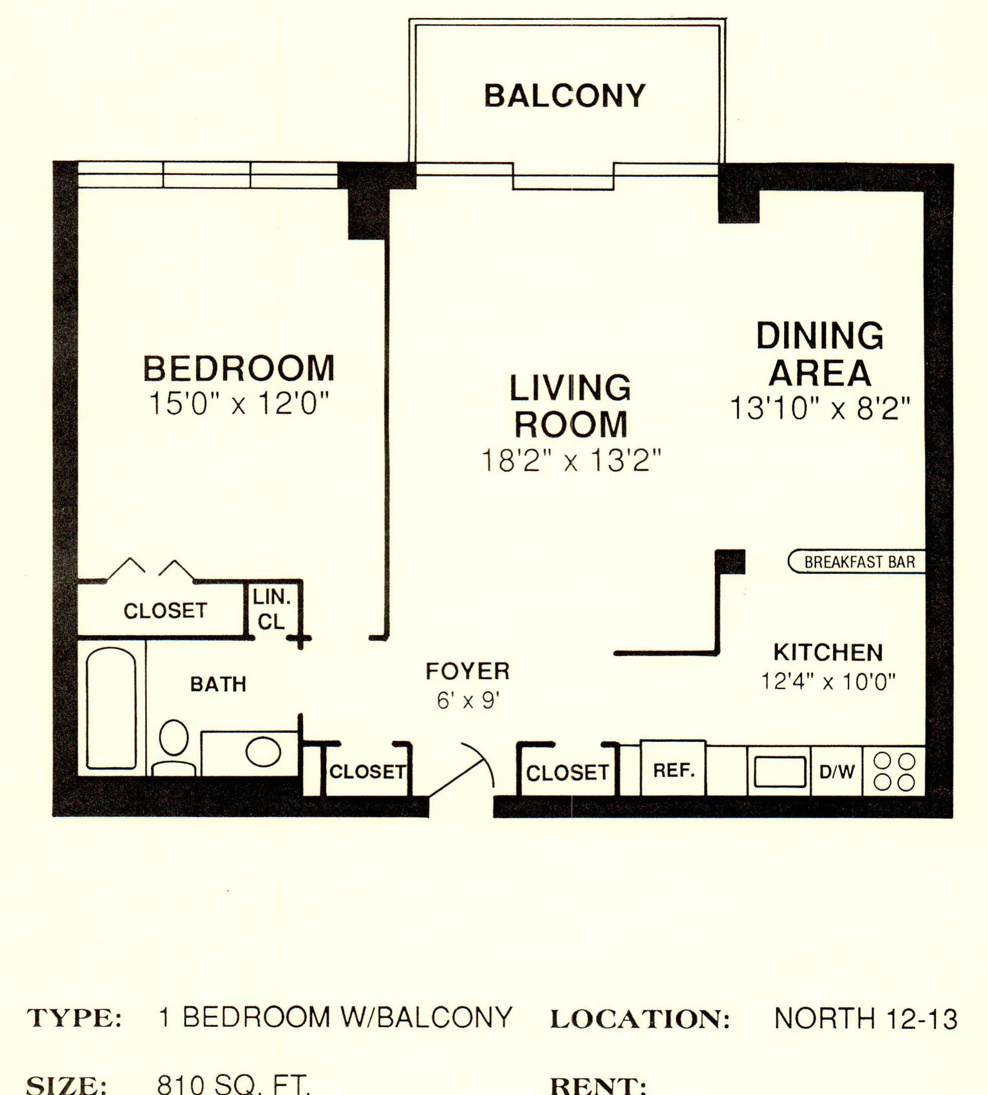 North 12 13 810 Sq Ft House Plans Floor Plans 1 Bedroom Apartment