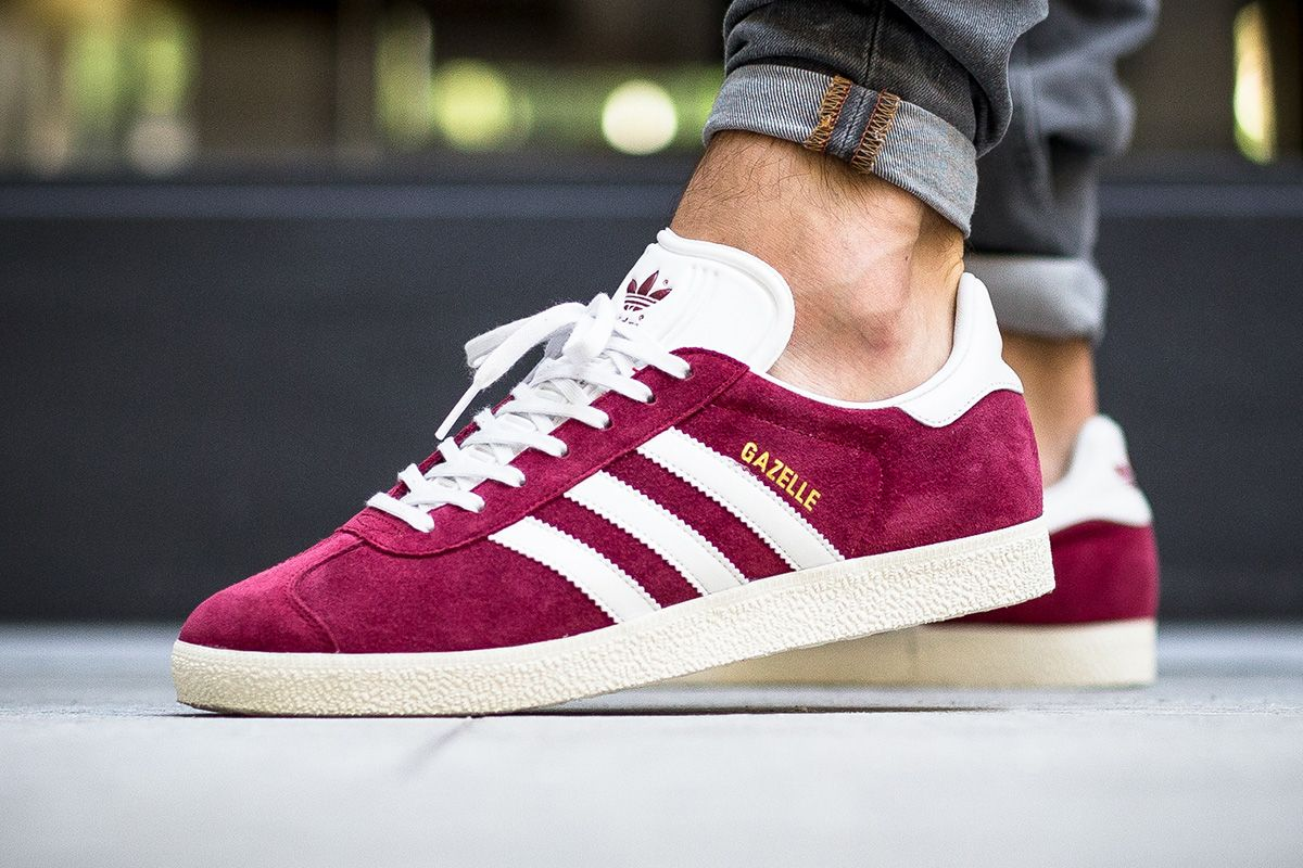 The latest colorway of the adidaz Gazelle features a Collegiate Burgundy  suede upper with accompanying white accents. 0de0b3f5e