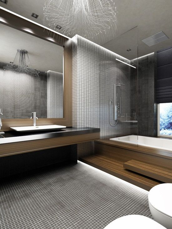 Amazing bathroom Like the tiling on the wall and the sink is