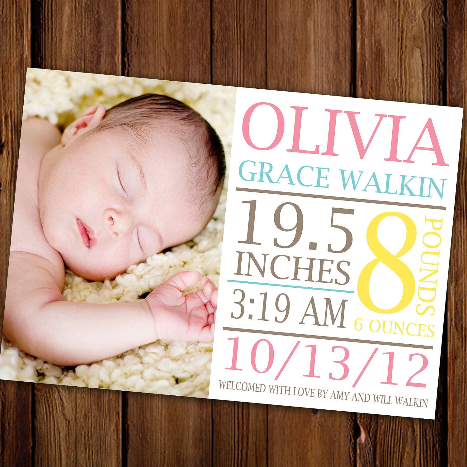 Large Text Baby Announcement Bold Photo Baby Girl Birth – Baby Announcement Cards Etsy