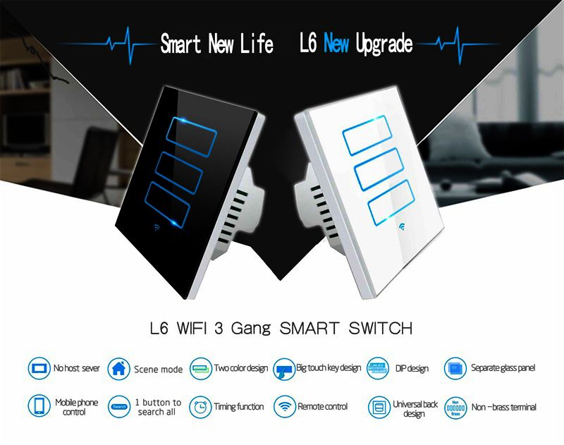 Home Automation Application And 20a Max Current Wifi 3 Gang Remote Light Switches Touch Wall Light Swi Smart Switches Remote Light Switch Smart Home Automation