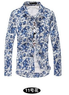 Fashion Floral Print Slim Fit Shirts