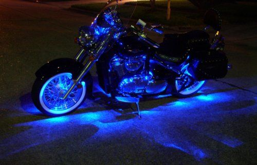 99 95 349 95 Baby Blue Motorcycle Led Neon Accent Lighting Kit With 10 Chrome Led Light Pods Have You Be Blue Motorcycle Motorcycle Lights Blue Neon Lights