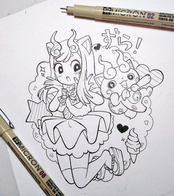 dessin manga encrage