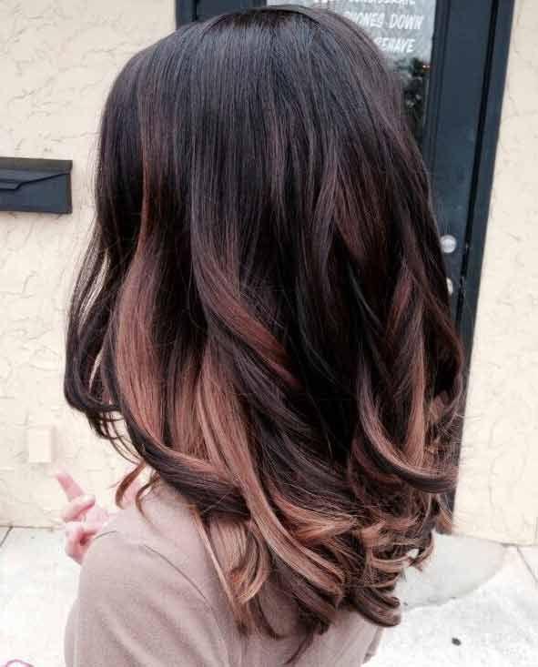 Rose Gold Highlights On Black Hair Hair Styles Hair Highlights Hair
