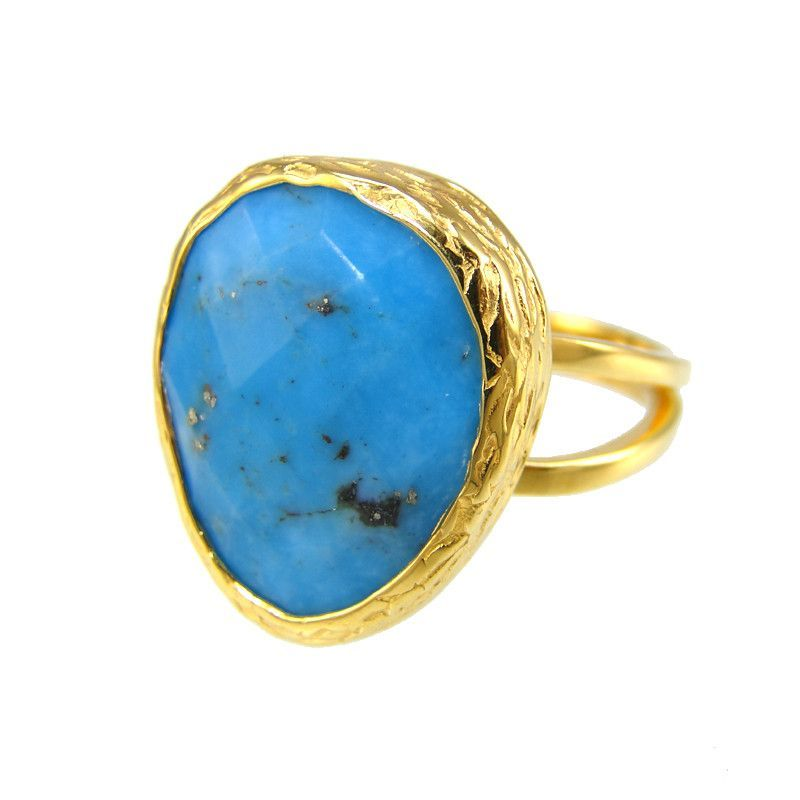 Turquoise rings - Oval Stackable Adjustable gemstones rings