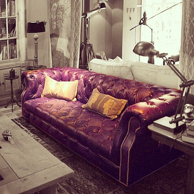 Eggplant Sofa And Loveseat Set Ikea Fantastic Colored Chesterfield If You Wanna Create A Point Of Focus In Your Space Choose Leather Color Other Than Black Or Brown