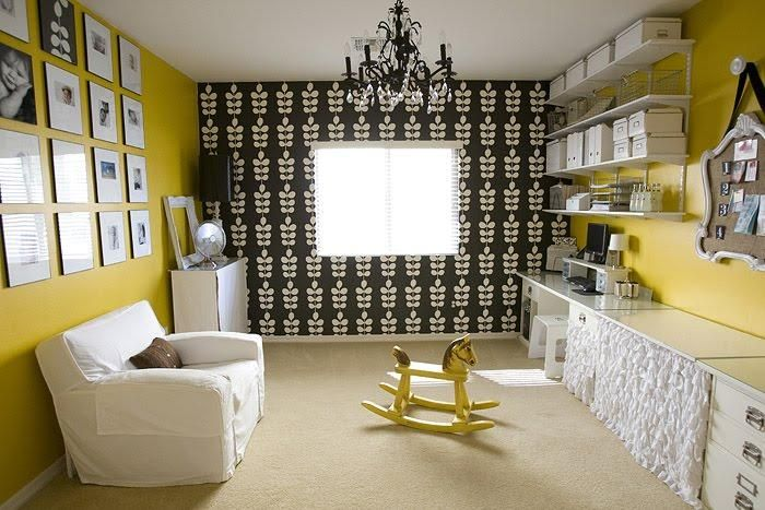 Chic Yellow Black Office Design With Black Floral Blue Mountain Wallpaper Yellow Walls Paint Color Black Crystal Chan Home Home Office Design Eclectic Home