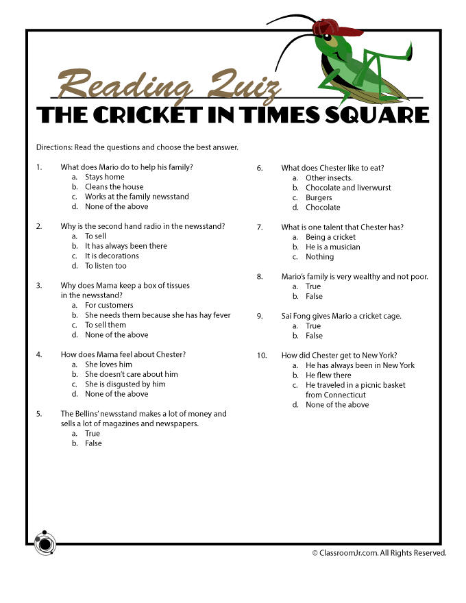 10 Question Reading Comprehension Quiz Part I Woo Jr Kids Activities Cricket In Times Square Reading Comprehension This Or That Questions
