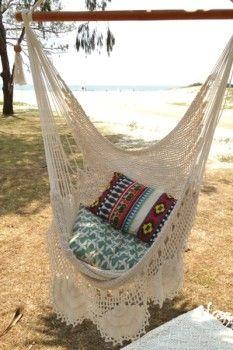Bungalow Decor White Bohemian Crochet Hammock Diy Hammock Swinging Chair