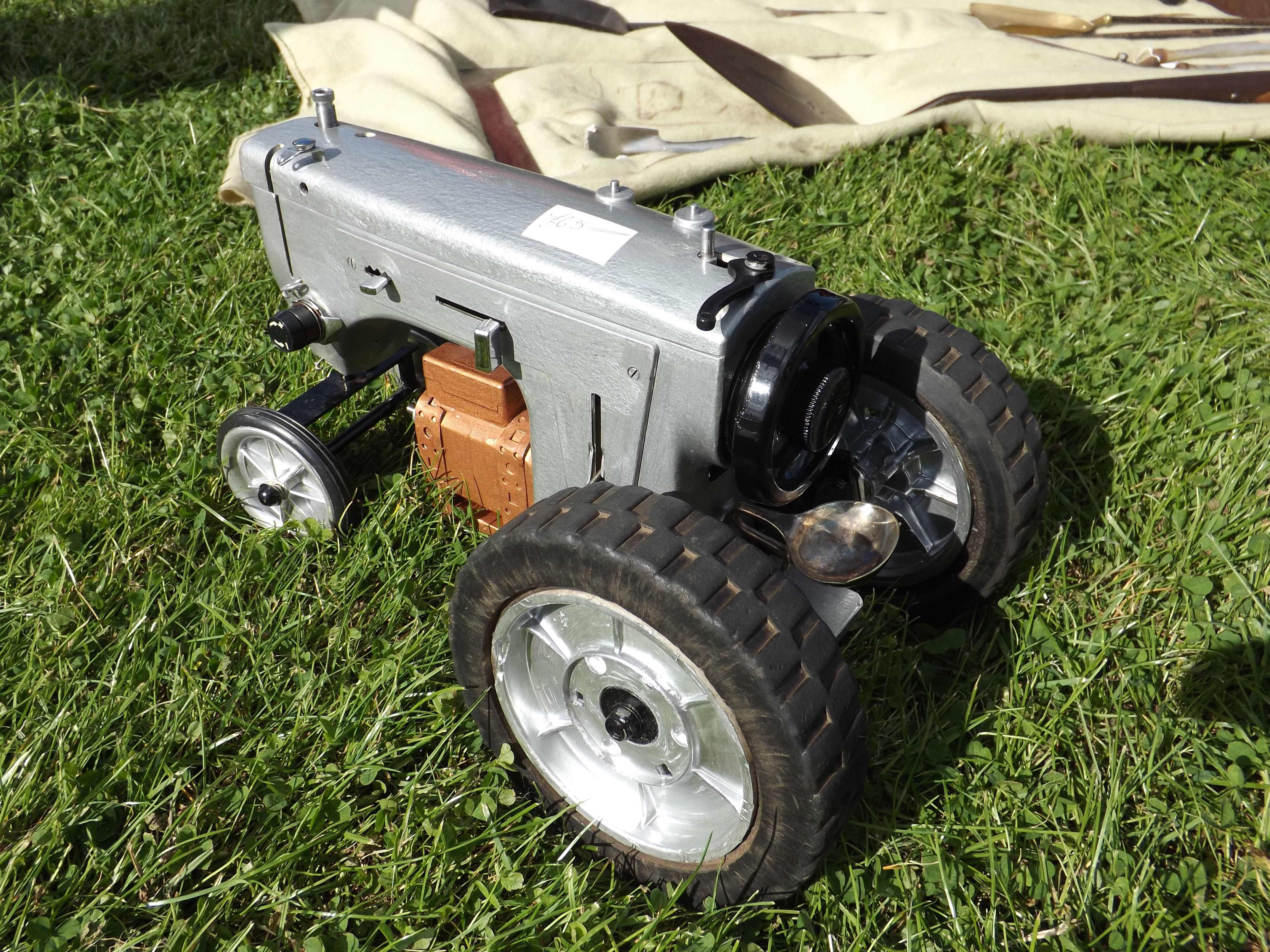 Spotted At Blue Anchor Bay Car Boot Sale Somerset UK. Old Sewing Machine Tractor With Steering