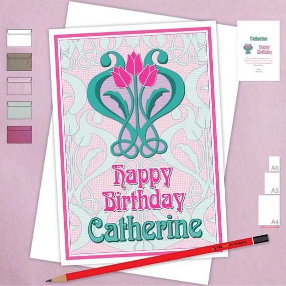 happy birthday card personalised edit name for her girl