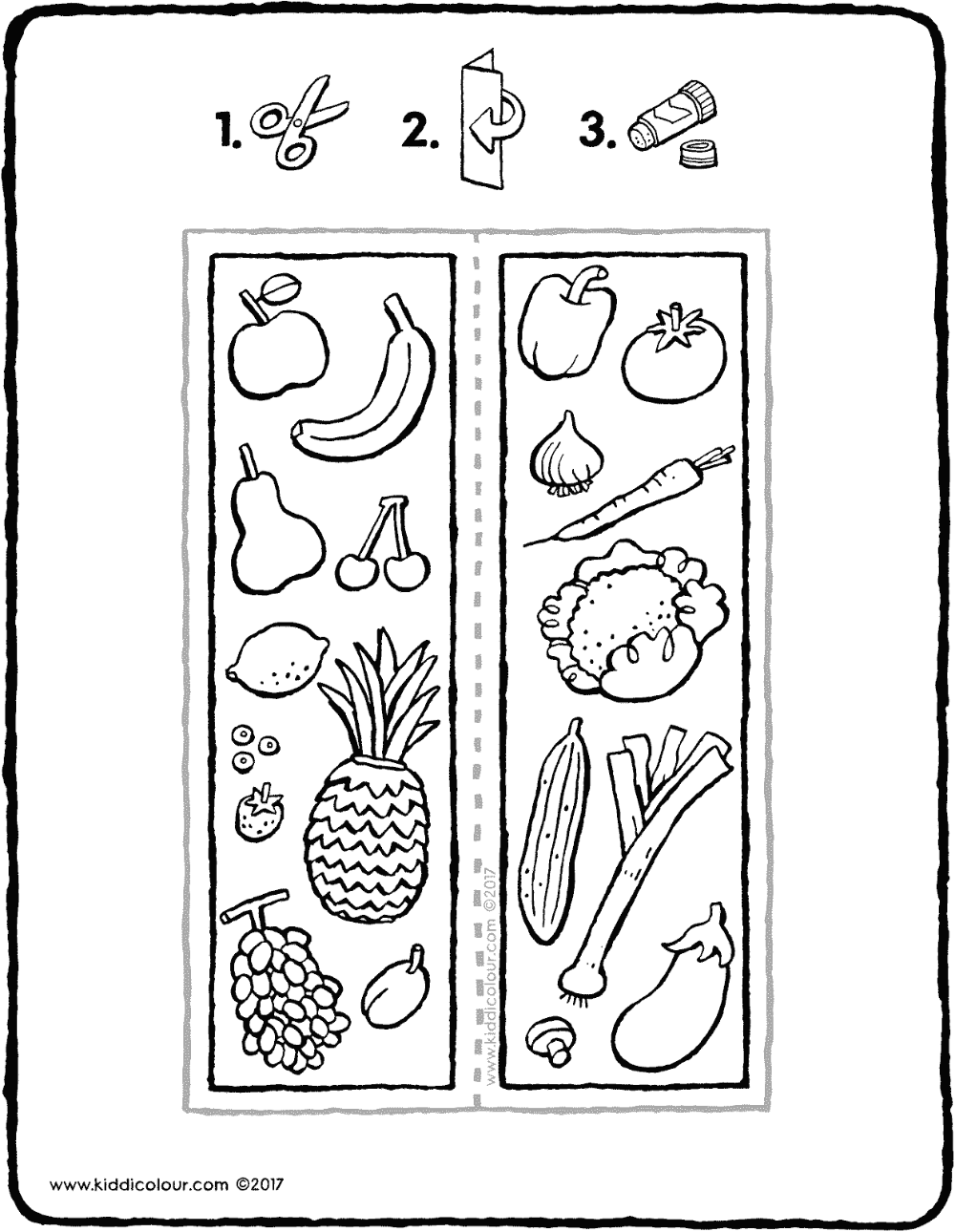 Lesezeichen Obst und Gemüse - kiddimalseite in 8  Lesezeichen