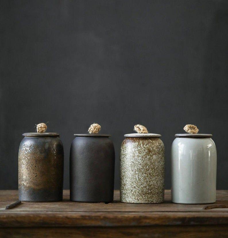Tangpin Tea Big Ceramic Tea Canisters Handmade Etsy Tea Container Ceramic Jars Tea Canisters