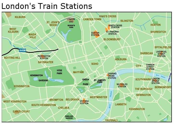 Londons four main train stations Euston Kings Cross Paddington