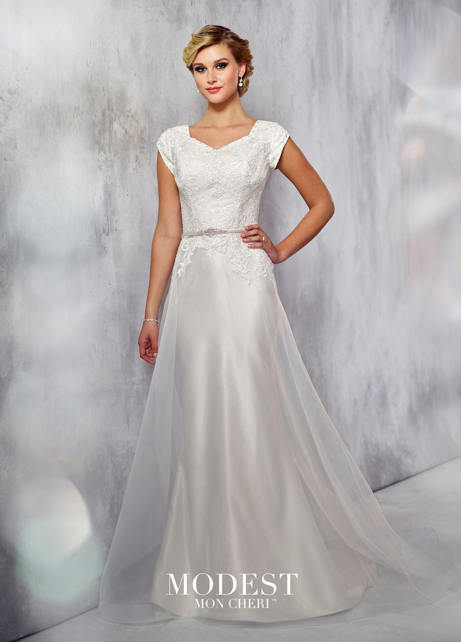 b92f40a2d1 mon cheri bridals wedding dress TR21713 - Tulle and organza cage A-line  dress with lace cap sleeves