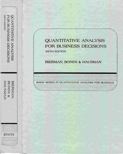 Quantitative Analysis For Business Decisions Irwin Series In