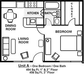 One Room One Bed One Bath Floor Plan with garage | Pictures gallery of small one bedroom apartment floor plans - #apartment #bath #Bed #bedroom #Floor #floorplans #Gallery #Garage #Pictures #Plan #Plans #room #Small #apartmentfloorplans