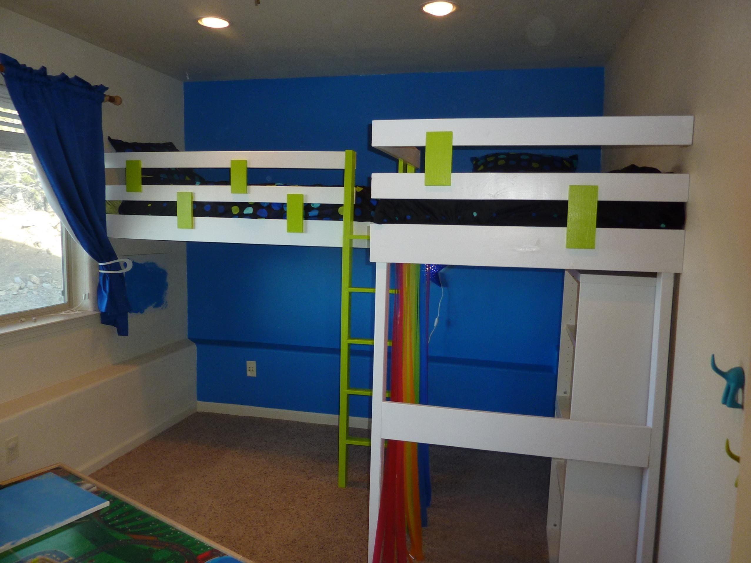 Double loft bed with stairs  l shaped bunk beds  double loft bed  Do It Yourself Home Projects