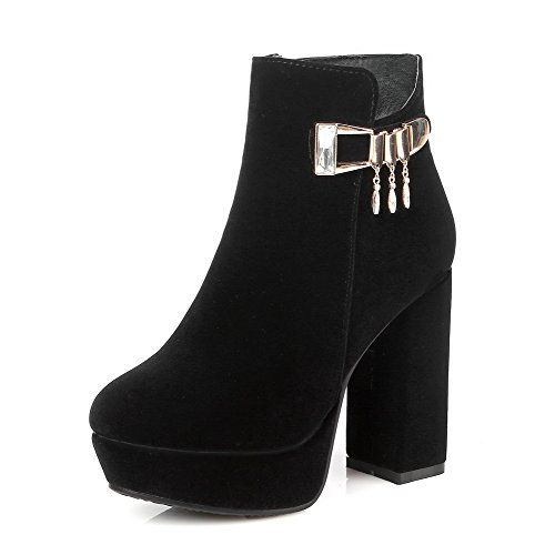 AmoonyFashion Womens Flock Low-top Solid Zipper High-Heels Boots